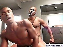 Horny muscled ebony dude riding BBC