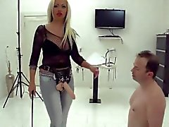 Strapon party girls fuck a bound gay loser