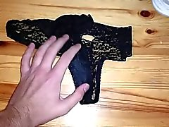 wank into wifes used wet dirty panties knickers after gym