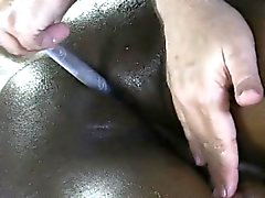 Straight black jock jizzes while prostate is stimulated with