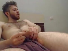 beautiful hairy guy playing his monster cock