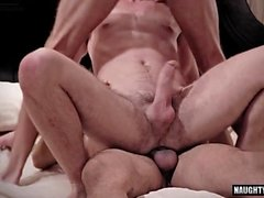 big dick gay threesome with facial segment