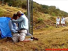 Hot Latin boyscouts sucking dicks outside