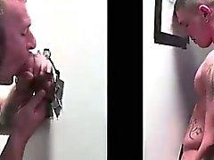 Hidden gay dude sucks straight cock at gloryhole