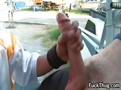 Outdoor thug fucking and sucking cock