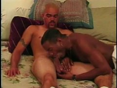 Lustful black boy kisses his ebony lover and worships his long stick