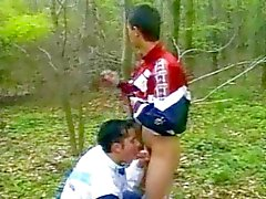 Shameless twinks shagging outdoors
