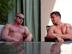 Straight Muscle Jock Friends Suck & Rough Fuck After Tanning