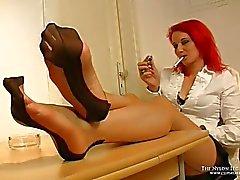 Bi color nylons dangling and cock teasing