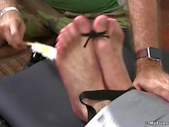 Strapped cuties feet endure merciless tickling with feathers