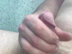 Masterbating within the spa. Marine cumshot