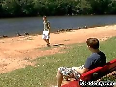 Nasty teen twink couple blowing tube