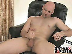 Fantastic bald gay Bucky wanking his gigantic dick on the