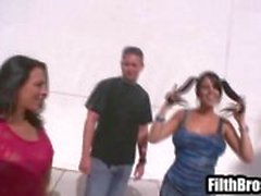 Two curvy brunette babes get picked up by a dude in a van