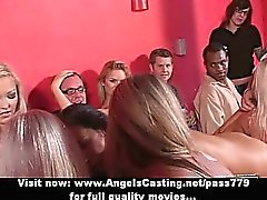 Amateur sex orgy with bisexual hotties sucking and riding cock in bar