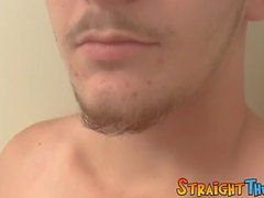 Good looking straight jock jerks it off in the closet solo