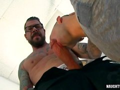 Huge dick daddy anal sex and cumshot