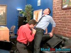Dude gets his stiff cock sucked at work part3