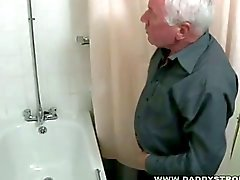 Shower and a jerk off for horny gay grandpa just for you