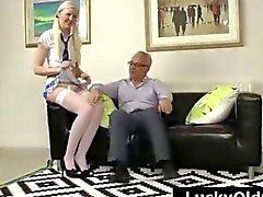 Blonde schoolgirl in stockings strips for older British guy