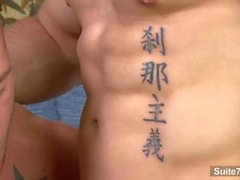Sexy tattooed jocks Rod Daily, Santos fucking hard and cumming
