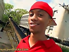 Interracial dick sucking in a train yard