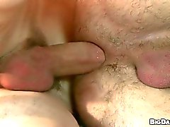 Hot big dick boy rawdogs his mate on the couch