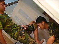 Kinky Asian Soldiers Wet Bathroom Military Sex Drill