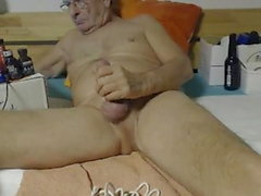 dad jerks off his hard cock