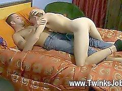 Hot gay sex Preston gets Hunter nude and deepthroats his