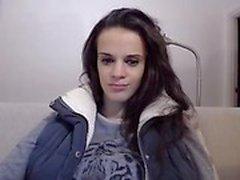 Irresistible brunette schoolgirl reveals her magnificent bi