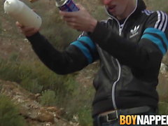 Wax tormented twink dommed and wanked off outdoors