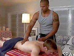 Stroking a lusty gay rod derails a massage