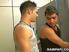 Horny latin gay fuckers enjoying hardcore locker room bareback