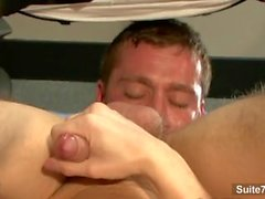 Gorgeous gay gets butt nailed in the office