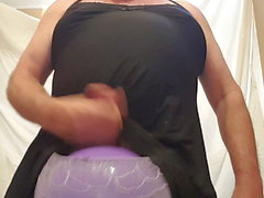 Edging in Purple Panties, a Playball and a Cum Explosion