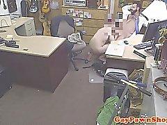 Bearded pawn amateur facialized for cash