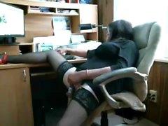 Solo gay masturbation in an office