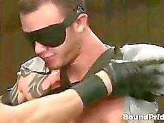 Tattooed hunk blindfolded and gets part2