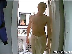 Nasty gay is half naked andhe is jerking