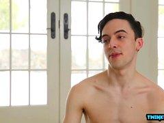 Brunette twinks anal sex with cumshot