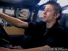 Freaky cutie Ian Madrox enjoys a cigar and a nice wank