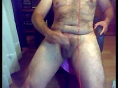 Hairy daddy masturbate and finger front webcam