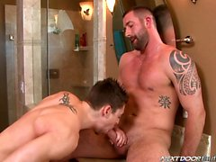 Johnny Torque and Vinny Castillo cums twice in this hot BJ