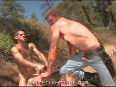 Great hardcore gay fuck outdoors with three hot studs