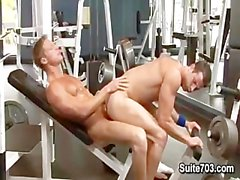 Two hot muscle bodybuilding Gavin Waters & Rusty Stevens fuck in the gy
