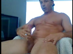 hung muscular daddy stroking