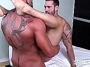 Masseur Max oils up Alexy's hole and stuffs a fat dildo