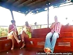 Two Dudes and One Bi Chick Hire Kinky Hooker for Piss Covered Fun