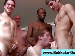 Hot interracial bukkake party